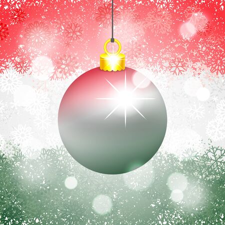 Christmas ball colored in the colors of Hungarian flag on beautiful snowy background. Vector illustration for winter holidays Ilustracja
