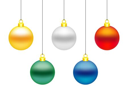 Set of 5 colorful Christmas balls. Golden, white, red, green and blue. Vector illustration, isolated on white