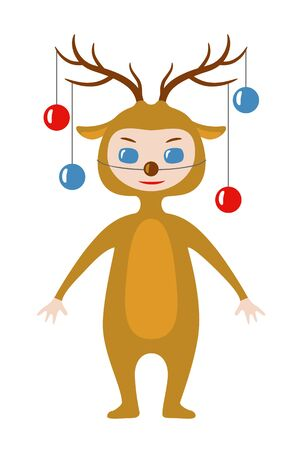 Vector illustration of a kid wearing Christmas deer costume with Christmas decoration on its horns. Chibi style character design