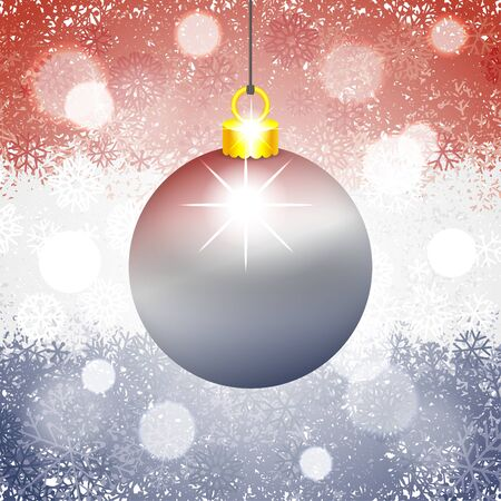 Christmas ball on snowy background painted in the flag of Netherlands colors. Vector illustration for holidays and greeting cards