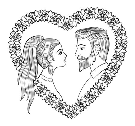 Young couple in heart shaped floral frame. Bearded man and woman with pony tail. Antistress coloring page for adults. Vector illustration Standard-Bild - 136274850