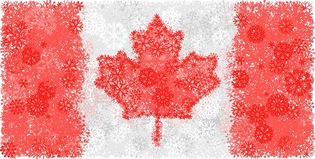 Snowy winter background with flag of Canada. Vector illustration