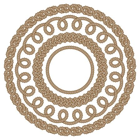 Set of round brown rope frames. Monochrome vector illustration, isolated on white