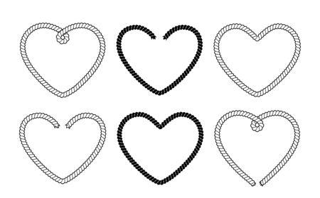 Set of 6 rope heart frames. Black and white vector illustration