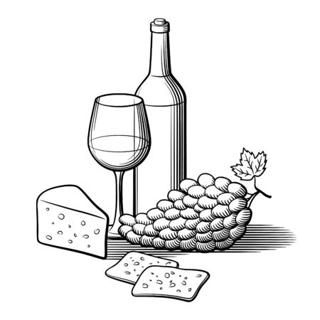 Black and white retro style hand drawn vector illustration. Bottle of wine, wineglass, bunch of grapes and sliced cheese.