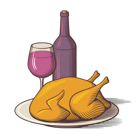 Bottle of red wine, wineglass and roast chicken in a dish. Delicious holiday dinner. Stylized colored vector illustration