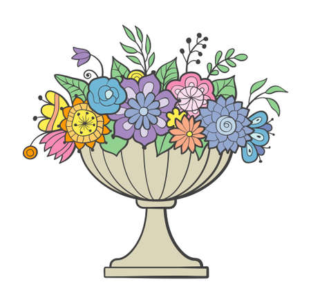 Vase of flowers. Big flower pot. Colored hand drawn vector image, isolated on white