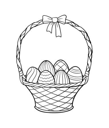 Basket of Easter decorated eggs. Black and white vector illustration, isolated on white