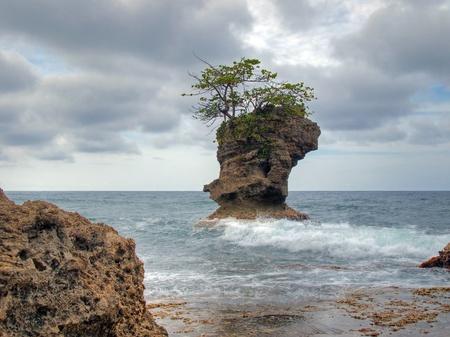 mare agitato: Piccola isola rocciosa con albero in cima, immagine HDR, Costa Rica