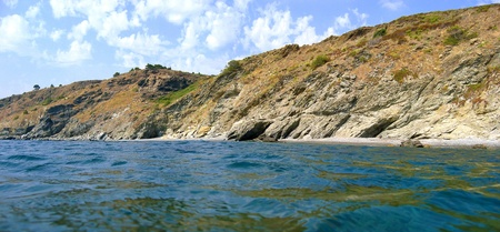 vermilion coast: Panorama just above the surface with cliffs and sea