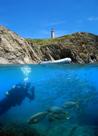 port vendres: Surface and underwater view with fish and diver