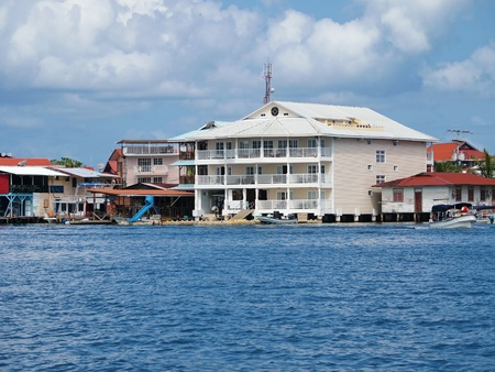 stilts: Coastline with an caribbean hotel over the sea in Bocas del Toro, Panama Editorial