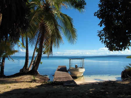 Dock and a boat in a beach with coconuts trees and calm water, Bocas del Toro, caribbean, Panama Stock Photo - 11782848