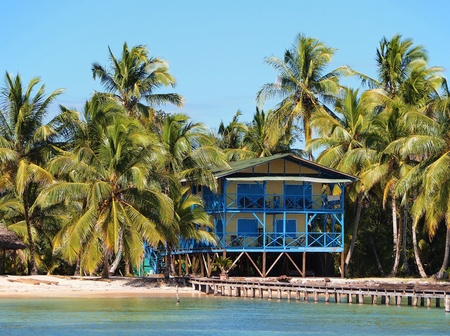 Hotel on the beach with beautiful coconuts trees and a dock