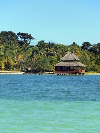 Restaurant with thatched roof over the sea and a tropical beach with coconut trees in background