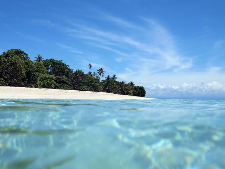 View from the water surface on a pristine sandy beach of an Caribbean island photo