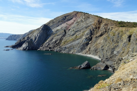 costal: Costal cliff at the frontier between Spain and France, Cap Cerbere, Mediterranean sea Stock Photo