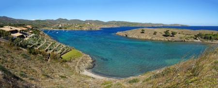 Panoramic view over PortLligat bay and its island in the Mediterranean sea, Costa Brava, Catalonia, Spain photo