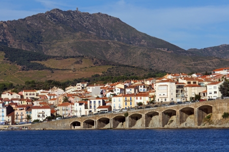 vermilion coast: Town of Banyuls-sur-Mer in the French Mediterranean coast with the Madeloc tower in background, Roussillon, Vermilion coast, France
