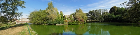 limousin: Panoramic view of the castle pond of Mortemart, Limousin, France
