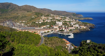 vermilion coast: Panorama over Mediterranean coast in south of France with the picturesque village of Cerbere, Vermilion coast, Roussillon