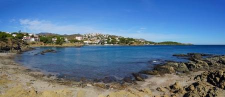 beach front: Coastal panorama in a cove near Llanca, Mediterranean sea, Costa Brava, Catalonia, Spain Stock Photo