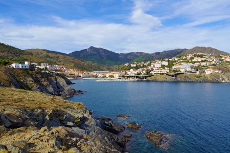 vermilion coast: Mediterranean coast in south of France with the picturesque village of Cerbere, Vermilion coast, Roussillon
