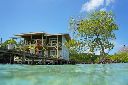 stilt: Tropical hotel over the sea from the water surface, Caribbean sea, Panama