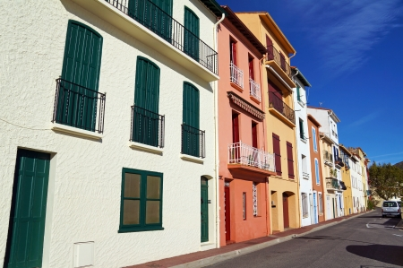 port vendres: Colorful houses in the Mediterranean village of Port Vendres,Roussillon, Vermilion coast, France