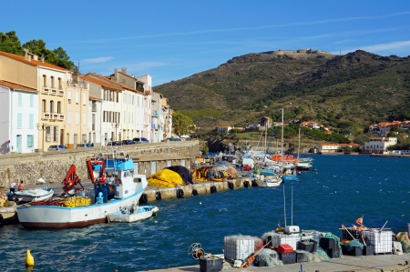 port vendres: Typical Mediterranean fishing port of Port-Vendres with the fort Bear in background, Roussillon, Vermilion coast, France Stock Photo
