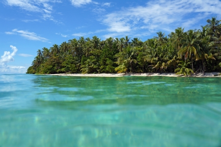 View from the water surface on a tropical island beach with luxuriant vegetation, Caribbean, Zapatillas isles, Bocas del Toro photo