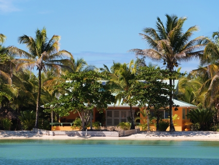 Beach house with coconuts trees photo