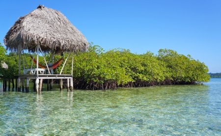 Hut with hammock over the sea and mangrove island photo