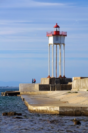 port vendres: Port-Vendres jetty and lighthouse,Roussillon, Pyrenees Orientales, Vermilion coast, France Stock Photo