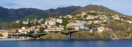 vermilion coast: Panorama over Mediterranean village of Cerbere, Vermilion coast, Pyrenees-Orientales, Roussillon, France Stock Photo