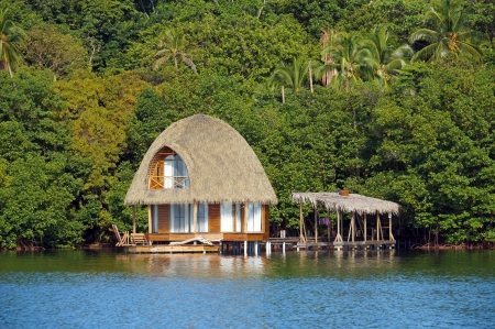 Over water bungalow with palm roof and lush tropical vegetation in background, Bocas del Toro, Caribbean sea, Central America, Panama photo