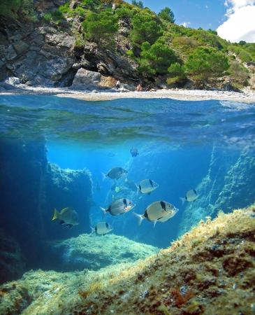 Oppervlak en onderwater weergave met een mediterrane strand en zeebodem met vis, Costa Brava, Rosas, Catalonië, Spanje