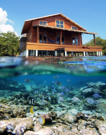 Surface and underwater view with beautiful stilt house and tropical fish photo