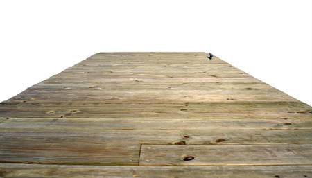 treated board: Boat dock isolated on white background Stock Photo
