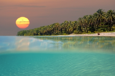 Sunset on tropical beach island with underwater view, Caribbean sea, Bocas del Toro