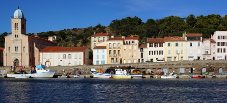 port vendres: Panorama in the harbor of Port-Vendres with its 19th century church,Roussillon, Vermilion coast, France