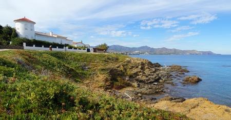 seafront: Panoramic view of a waterfront villa in Costa Brava, Mediterranean sea, Llanca, Catalonia, Spain