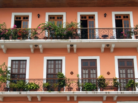 colonial: Detail of a colonial house  balcony with flowers and plants, Casco Viejo, Panama City, Panama