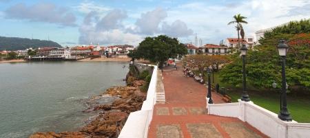 panama city beach: Vista panoramica in Plaza de Francia, Casco Viejo, Panama City, Panama Archivio Fotografico