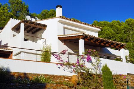 wooden facade: Mediterranean villa recently built, Rosas, Costa Brava, Catalonia, Spain