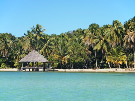 palapa: Tropical beach with thatched roof hut and boathouse