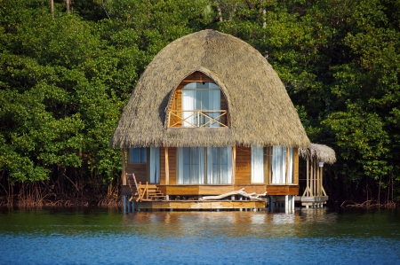 Thatched bungalow over water with lush tropical vegetation in background, Bocas del Toro, Caribbean sea, Central America, Panama