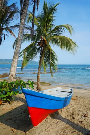 viejo: Boat on a tropical beach with coconut tree and the Caribbean sea in background, Puerto Viejo de Talamanca, Costa Rica, Central America