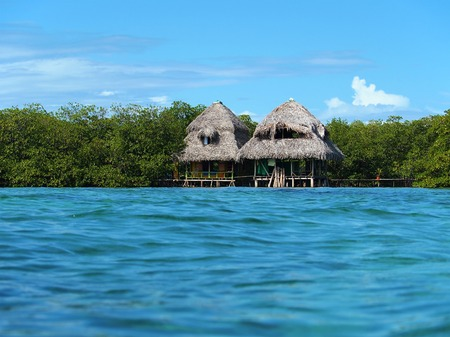 stilt house: Over the sea cabins with mangrove trees and water surface Stock Photo