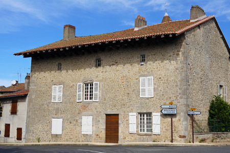 limousin: Old stone house in the picturesque village of Mortemart, Limousin, France